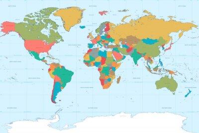 Nálepka Ploché Barvy Mapa Svět