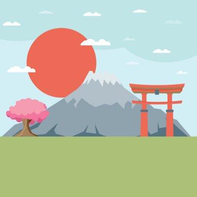 Nálepka Ploché provedení krajina Japonsko ilustrační vektoru