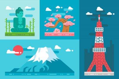 Nálepka Ploché provedení památek Japonsko set