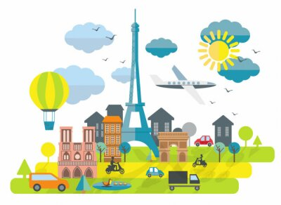 Nálepka Plochý design ilustrace s Eiffelovou věží v Paříži Městě