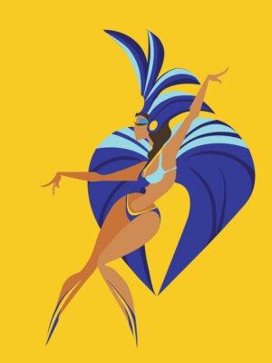 Nálepka plochý geometrický design tanec samba královny