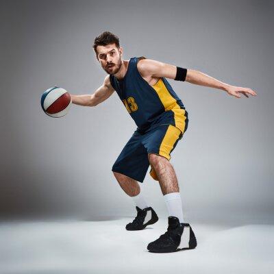 Nálepka Po celé délce portrét basketbalový hráč s míčem