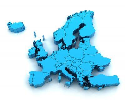 Nálepka Podrobná mapa Evropy s národními hranicemi