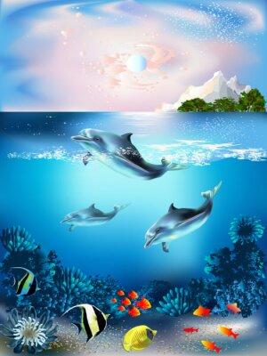 Nálepka Podvodní svět s delfíny a rostlin