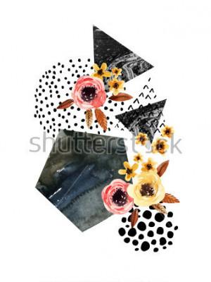 Nálepka Podzimní pozadí: padající listy, květiny, geometrické prvky. Akvarel ilustrační s listy, trojúhelníky, mramor, vodní barva, struhadla textury pro návrh pádu. Ručně malované akvarely