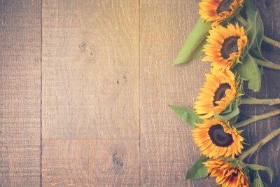Nálepka Podzimní pozadí s slunečnice. Pohled shora. Retro efekt filtru