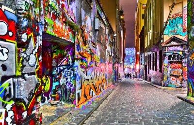 Nálepka Pohled na barevné kresby graffiti na Punčochář Lane v Melbourne