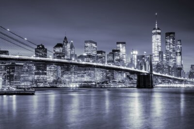 Nálepka Pohled na Manhattan a Brooklynský most v noci, New York City
