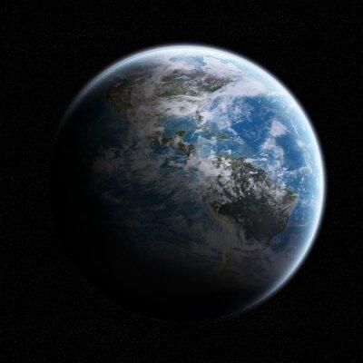 Nálepka Pohled na planetě Zemi ve vesmíru