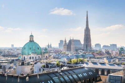 Nálepka Pohled přes Vídeň panorama s katedrálou svatého Štěpána v dopoledních hodinách, Vídeň, Rakousko