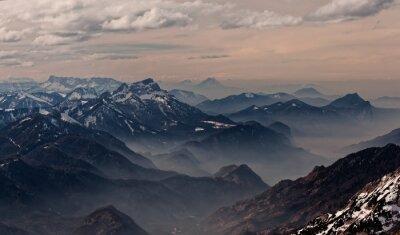 Nálepka Pohled z Hoellengebirge směrem Salzburg, Rakousko