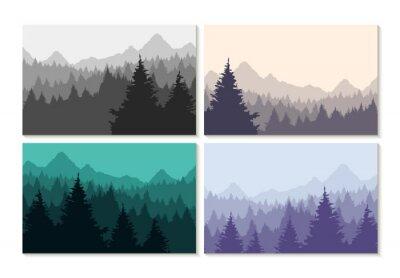 Nálepka Pojetí ilustrace zimní les krajina set