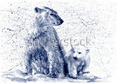 Nálepka Polar bear black&white