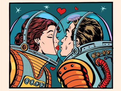 Nálepka Polibek prostor muž a žena astronautů