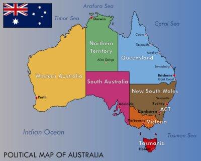 Nálepka Political Map of Australia