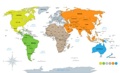 Nálepka Political world map on white background, with every state labeled and selectable. Colored by continents. Versatile file, turn on an off visibility and color of each country in one click.