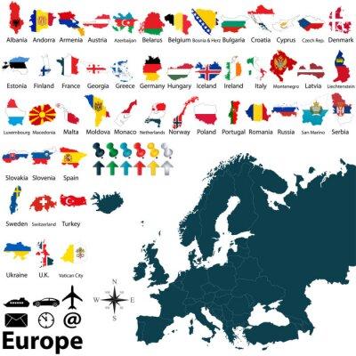 Nálepka Politická mapa Evropy