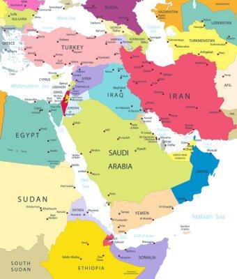Nálepka Politická mapa na Středním východě av Asii izolovaných na bílém