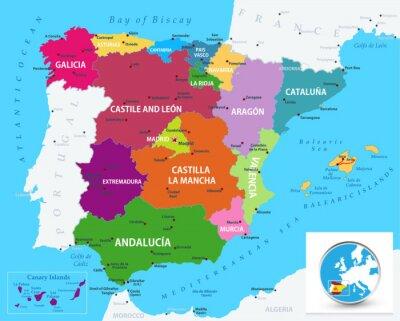 Nálepka Politická mapa Španělska