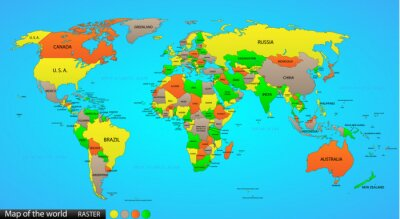 Nálepka Politická mapa světa