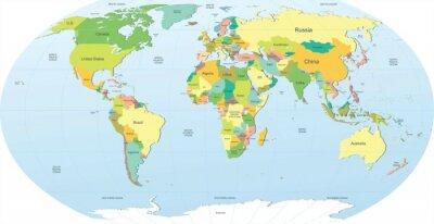 Nálepka politická mapa světa v barvě