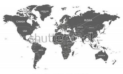 Nálepka Politická mapa světa vektorové ilustrace izolované na bílém pozadí.
