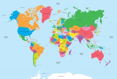 Nálepka Politická mapa světa vektoru