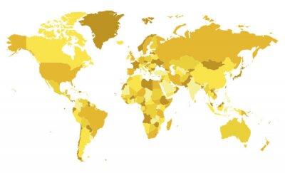 Nálepka Politické prázdné Mapa světa vektorové ilustrace s různými tóny žluté pro každou zemi. Upravitelné a jasně označené vrstvy.