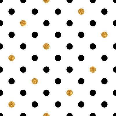 Nálepka Polka dot bezešvé pozadí ve zlaté a černé barvy.
