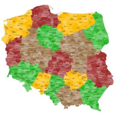 Nálepka Polsko Mapa podrobně