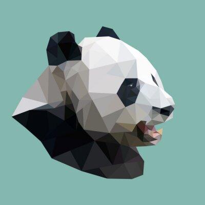 Nálepka polygonal panda, polygon abstract geometric animal, vector illus