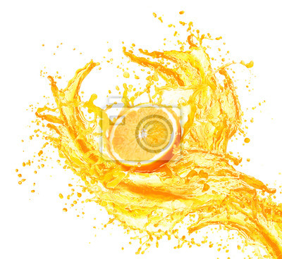 Nálepka Pomerančová šťáva stříkající s jejími plody na bílém