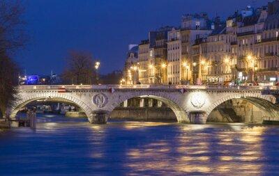 Nálepka Pont Saint Michel, Paříž, Francie.