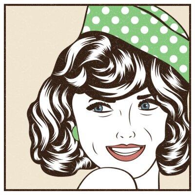 Nálepka Pop Art ilustrace dívky