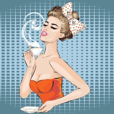Nálepka Pop Art portrét ženy s ranní šálek čaje. Pin-up girl