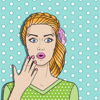 Nálepka Pop art žena zmatený, zrzavé vlasy ženu překvapil. Komediální žena vektor.
