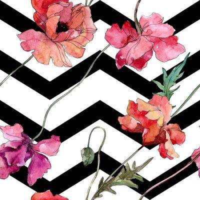 Nálepka Poppy floral botanical flower. Watercolor background illustration set. Seamless background pattern.