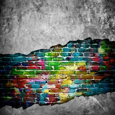 Nálepka popraskané cihlové zdi