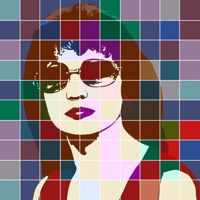 Nálepka Portrét ženy s účinkem vitráží
