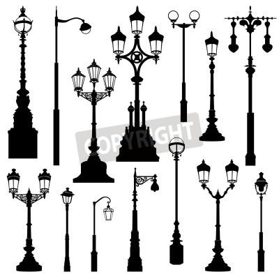 Nálepka Pouliční lampa set. Ulice světla retro kolekci.
