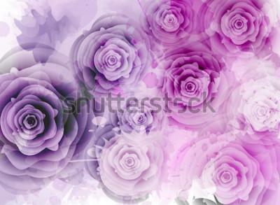 Nálepka Pozadí abstraktní s růžemi a grunge úvodní prvky