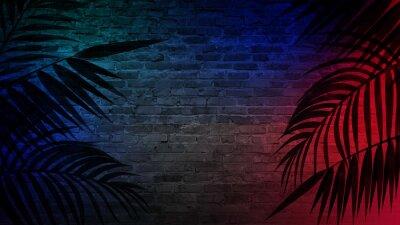 Nálepka Pozadí prázdné chodby s cihlové zdi a neonové světlo. Cihlové zdi, neonové paprsky a záře