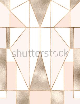 Nálepka Pozadí uměleckého decoru se zlatým třpytem geometrické tvary, trojúhelníky, obdélníky, čáry, čtverce.