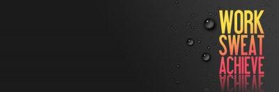 Nálepka Práce - Sweat - Dosáhnout - cvičení a fitness Motivace Quote - Creative typografie Moderní Banner Concept - Drops - modrá