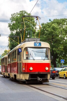 Nálepka Praha detail červené tramvaje, Česká republika