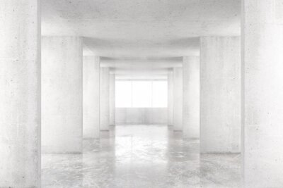 Nálepka Prázdné místnosti s betonovými stěnami, betonové podlahy a velké okno, 3