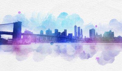Nálepka Prázdné New York City akvarel pohlednice