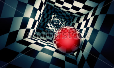 Nálepka Predetermination. Red ball in a chess tunnel (concept image). The space and time. 3D illustration. Available in high-resolution and several. If you buy this image, I will be very grateful to you!