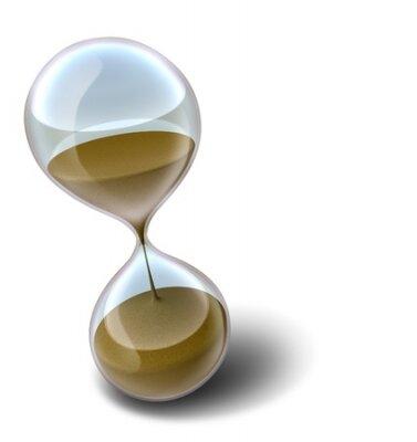 Přesýpací hodiny s písky času docházejí představuje termín nebo odpočítávání, která vede ve stresu.