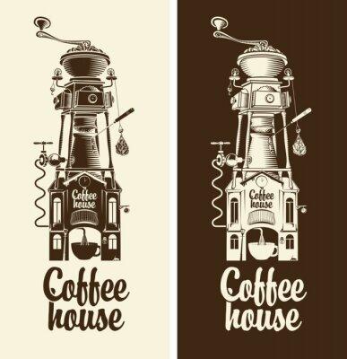 Nálepka Přihlásit Retro kavárnu a mlýnek se střechou